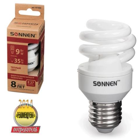 Лампа люминесцентная энергосберегающая SONNEN Т2, 9 (35) Вт, цоколь E27, 8000 часов, теплый свет, эконом