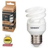 Лампа люминесцентная энергосберегающая SONNEN Т2, 9 (35) Вт, цоколь E27, 8000 часов, холодный свет, эконом