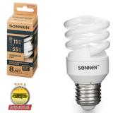 Лампа люминесцентная энергосберегающая SONNEN Т2, 11 (55) Вт, цоколь E27, 8000 часов, холодный свет, эконом