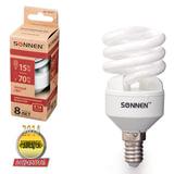 Лампа люминесцентная энергосберегающая SONNEN Т2, 15 (70) Вт, цоколь E14, 8000 часов, теплый свет, эконом