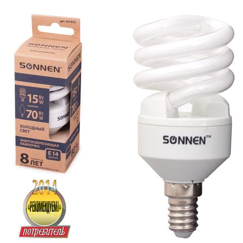 Лампа люминесцентная энергосберегающая SONNEN Т2, 15 (70) Вт, цоколь E14, 8000 часов, холодный свет, эконом