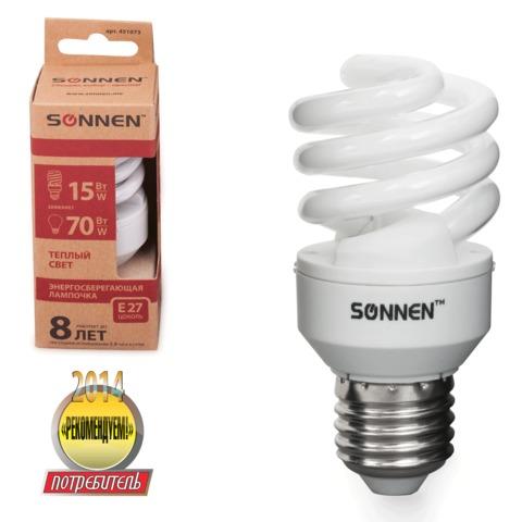 Лампа люминесцентная энергосберегающая SONNEN Т2, 15 (70) Вт, цоколь E27, 8000 часов, теплый свет, эконом