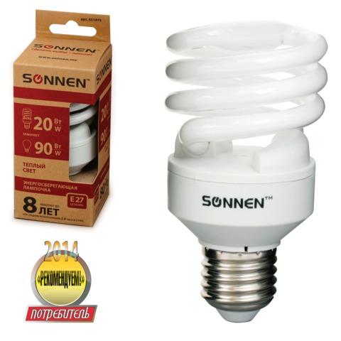 Лампа люминесцентная энергосберегающая SONNEN Т2, 20 (90) Вт, цоколь E27, 8000 часов, теплый свет, эконом