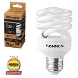 Лампа люминесцентная энергосберегающая SONNEN Т2, 20 (90) Вт, цоколь E27, 8000 часов, холодный свет, эконом