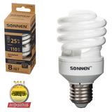 Лампа люминесцентная энергосберегающая SONNEN Т2, 25 (110) Вт, цоколь E27, 8000 часов, холодный свет, эконом