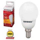 Лампа люминесцентная энергосберегающая SONNEN шар Т2, 7 (30) Вт, цоколь E14, 12000 ч., теплый свет, премиум