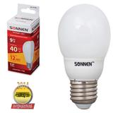 Лампа люминесцентная энергосберегающая SONNEN шар Т2, 9 (40) Вт, цоколь E27, 12000 ч., теплый свет, премиум