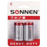Батарейки SONNEN, C (R14), комплект 2 шт., солевые, в блистере, 1,5 В