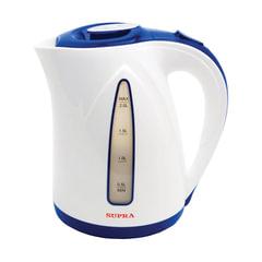 Чайник SUPRA KES-2004, закрытый нагревательный элемент, объем 2 л, мощность 2200 Вт, пластик, белый с синим