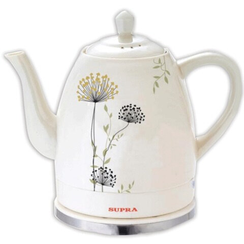 Чайник SUPRA KES-171C, закрытый нагревательный элемент, объем 1,5 л, мощность 1200 Вт, керамика, рисунок «цветы»