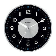 Часы настенные SCARLETT SC-55E, круг, черные, серебристая рамка, плавный ход, 32,0×32,0×5,1 см