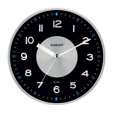 Часы настенные SCARLETT SC-55E, круг, черные, серебристая рамка, плавный ход, 32,0х32,0х5,1 см
