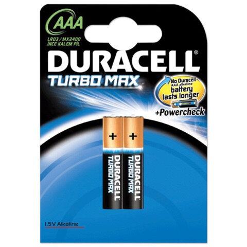 Батарейки DURACELL TurboMax, AAA LR3, Alkaline, 2 шт., в блистере, 1,5 В