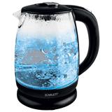 Чайник SCARLETT SC-EK27G09, закрытый нагревательный элемент, объем 1,7 л, мощность 2200 Вт, стекло, черный
