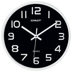 Часы настенные SCARLETT SC-WC1001O круглые, черные, серебристая рамка, пластик, плавный ход, 25,5×25,5×4,6 см