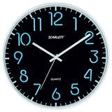 Часы настенные SCARLETT SC-WC1007O круглые, черные, серебристая рамка, пластик, плавный ход, 30×30×4,5 см