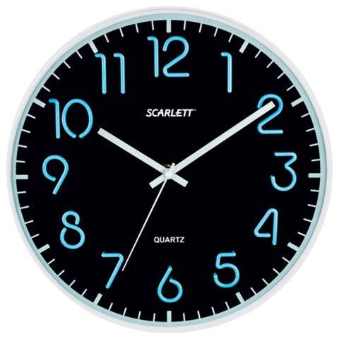 Часы настенные SCARLETT SC-WC1007O круглые, черные, серебристая рамка, пластик, плавный ход, 30х30х4,5 см
