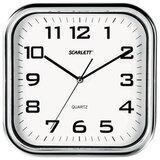 Часы настенные SCARLETT SC-WC1003O квадратные, белые, серебристая рамка, пластик, плавный ход, 30×30×4,6 см
