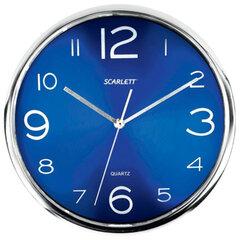 Часы настенные SCARLETT SC-WC1012O круглые, синие, серебристая рамка, пластик, плавный ход, 30×30×4,5см