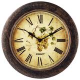 Часы настенные SCARLETT SC-WC1002K круглые, с рисунком, коричневая рамка, плавный ход, 28,5×28,5×4 см