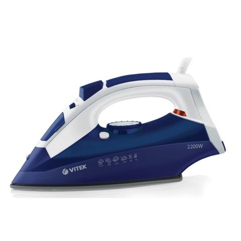 Утюг VITEK VT-1245P, 2400 Вт, терморегулятор, керамическая поверхность, автоотключение, паровой удар, белый с синим