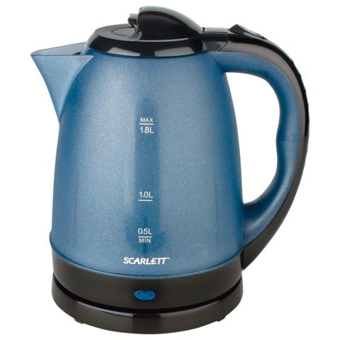 Чайник SCARLETT SC-229, закрытый нагревательный элемент, объем 1,8 л, мощность 2200 Вт, пластик, синий