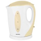 Чайник SUPRA KES-1702, открытый нагревательный элемент, объем 1,7 л, мощность 2200 Вт, пластик, белый с кремовым