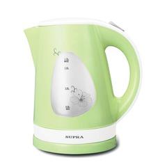 Чайник SUPRA KES-1708, закрытый нагревательный элемент, объем 1,7 л, мощность 1800 Вт, пластик, зеленый