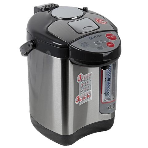Термопот VITEK VT-1188, 4 л, 750 Вт, 3 температурных режима, 3 режима подачи воды, нержавеющая сталь, черный/<wbr/>серебристый