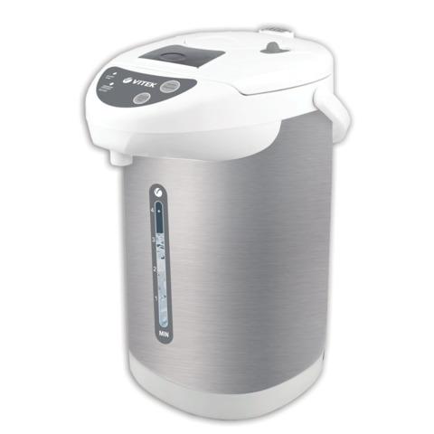 Термопот VITEK VT-1196, 4 л, 750 Вт, 1 температурный режим, 3 режима подачи воды, нержавеющая сталь, белый/<wbr/>серебристый