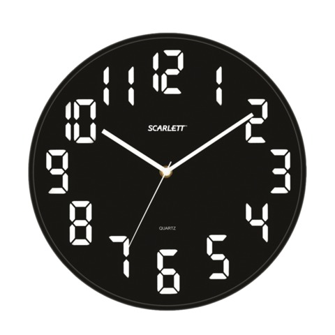 Часы настенные SCARLETT SC-55BL, круглые, черные, черная рамка, пластик, плавный ход, 30,8×30,8×5,3 см