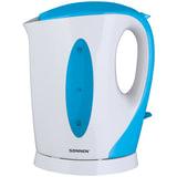 Чайник SONNEN KT-003BL, открытый нагревательный элемент, 1,7 л, 2200 Вт, пластик, белый/<wbr/>синий