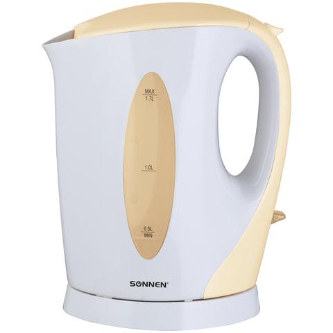 Чайник SONNEN KT-003BG, открытый нагревательный элемент, 1,7 л, 2200 Вт, пластик, белый/<wbr/>бежевый