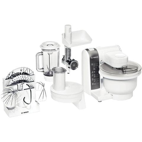 Кухонный комбайн BOSCH MUM4855, мощность 600 Вт, 4 скорости, блендер, мясорубка, 5 насадок, белый