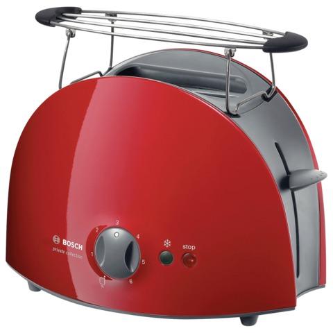 Тостер BOSCH TAT6104, мощность 900 Вт, 2 тоста, механическое управление, разморозка, подогрев, решетка для булочек, пласт., красн.