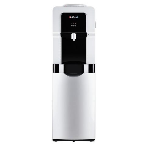 Кулер для воды HOT FROST V900BS, напольный, нагрев/<wbr/>охлаждение, холодильный шкаф 14 л, 1 кран (3 кнопки), серебристый/<wbr/>черный