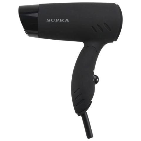 Фен SUPRA PHS-1201, мощность 1200 Вт, 2 скоростных режима, складная ручка, 2 насадки, пластик, черный