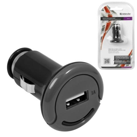 Зарядное устройство автомобильное DEFENDER UCA-02, 1 порт USB, выходной ток 1 A, черное, блистер