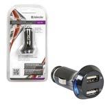 Зарядное устройство автомобильное DEFENDER UCA-04, 2 порта USB, выходной ток 1 A / 1 А, черное, блистер