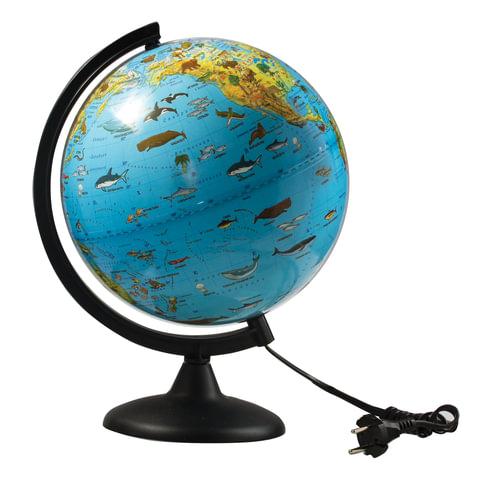 Глобус зоогеографический, диаметр 250 мм, с подсветкой (Россия)