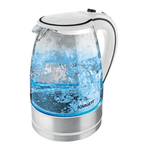Чайник SCARLETT SC-1024, закрытый нагревательный элемент, объем 1,7 л, мощность 2200 Вт, стекло