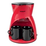 Кофеварка капельная SCARLETT SC-CM33001, объем 0,24 л, мощность 450 Вт, подогрев, пластик, красная, 2 чашки
