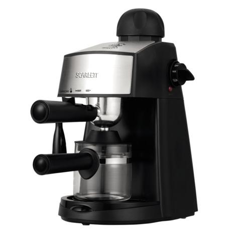 Кофеварка рожковая SCARLETT SC-CM33004, объем 0,24 л, мощность 800 Вт, давление 4 бар, насадка взбивания, пластик, черная
