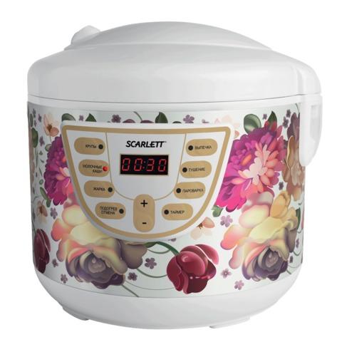 Мультиварка SCARLETT SC-MC410S11, мощность 700 Вт, объем 4 л, 8 программ, отсрочка 24 ч., пластик, рисунок цветы