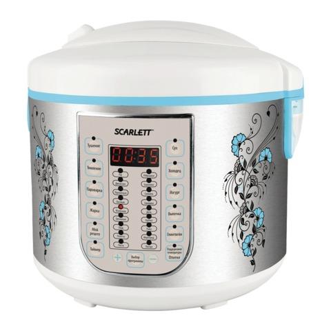 Мультиварка SCARLETT SC-MC410S15, мощность 900 Вт, объем 5 л, 30 программ, отсрочка 24 ч., нержавеющая сталь, с рисунком