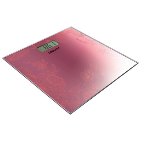 Весы напольные SCARLETT SC-215, электронные, максимальная нагрузка 180 кг, квадрат, стекло, мерцающее покрытие