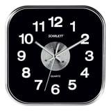 Часы настенные SCARLETT SC-WC1005O квадратные, черные, плавный ход, 25×25×4 см