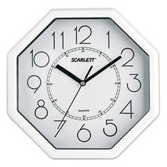 Часы настенные SCARLETT SC-16D восьмигранник, белые, белая рамка, плавный ход, 26,1×26,1×4,2 см