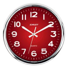 Часы настенные SCARLETT SC-WC1006O круглые, красные, серебристая рамка, плавный ход, 30×30×4 см