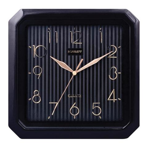 Часы настенные SCARLETT SC-52CB квадратные, черные, черная рамка, плавный ход, 27,8×27,6×3,7 см